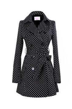 Dots Print Double-breasted Black Coat...Cute!
