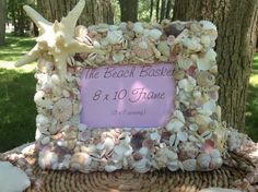 Pink Sea Shell Wedding FrameSeashell by BeachBasketBride on Etsy, $38.00