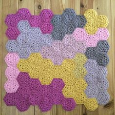 Champagne Pink Hexagon Blanket all finished and off to a new baby girl #dyenumber2 #crochet #hexagon #nursery #wool #playmat
