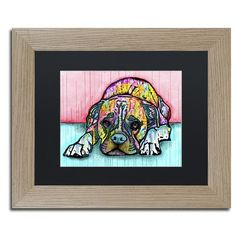 "Trademark Art 'Lying Boxer' by Dean Russo Framed Graphic Art Size: 11"" H x 14"" W x 0.5"" D, Matte Color: Black"