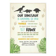 Dinosaur birthday invitation Dinosaur Party Invite Happy Birthday Invitation Card, Luau Invitations, Invitation Card Party, Dinosaur Birthday Invitations, Dinosaur Birthday Party, Birthday Invitation Templates, Invite, Elmo Party, Mickey Party