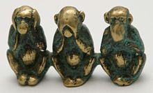 """The 3 wise monkeys, sometimes called the 3 mystic apes, are a pictorial maxim. Together they embody the proverbial principle to """"see no evil, hear no evil, speak no evil"""". The three monkeys are Mizaru, covering his eyes, who sees no evil; Kikazaru, covering his ears, who hears no evil; and Iwazaru, covering his mouth, who speaks no evil. There may be a fourth monkey depicted with the three others; the last one, Shizaru, symbolizes the principle of """"do no evil"""". He may be shown crossing his…"""