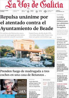Los Titulares y Portadas de Noticias Destacadas Españolas del 8 de Octubre de 2013 del Diario La Voz De Galicia ¿Que le pareció esta Portada de este Diario Español?