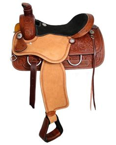 Double T Roper Style saddle with suede leather seat. Saddle features roughout fenders and jockies. Saddle has fully floral tooled skirts, pommel and cantle with rope border tooling. Saddle is accented Equestrian Boots, Equestrian Outfits, Equestrian Style, Equestrian Fashion, My Horse, Horse Tack, Dark Horse, Horse Girl, High Leather Boots