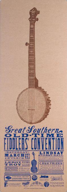 Old Time Fiddlers Convention Banjo Poster Hand Printed Letterpress