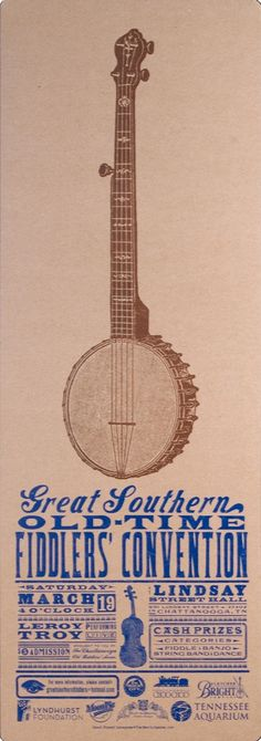 Old Time Fiddlers Convention Banjo Poster Hand Printed Letterpress