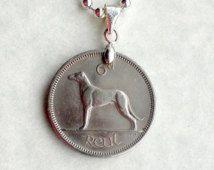 1966 Irish coin necklace, Irish Sixpence Coin Jewelry, 50th Birthday, Irish Wolfhound and Irish Harp Coin, Ireland direct, Dates1934 to 68