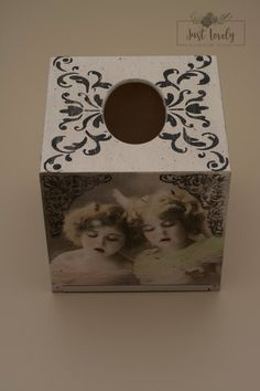 Tissue box cover,decoupage box,vintage girls,hearts,Just Lovely Handmade… Tissue Box Covers, Tissue Boxes, Decoupage Box, Vintage Girls, Hearts, My Favorite Things, Unique Jewelry, Handmade Gifts, Frame