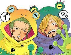 Zoro and Sanji cosplaying frogs. Lol!