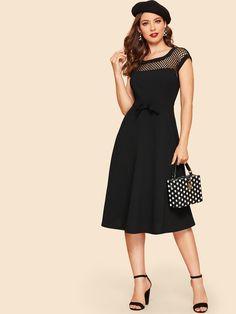 8e2c0961703 50s Fishnet Mesh Yoke Bow Embellished Dress -SHEIN(SHEINSIDE)