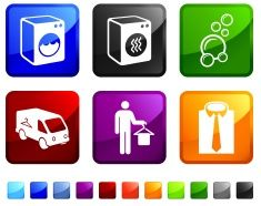 laundry and dry cleaning royalty free vector icon set stickers vector art illustration