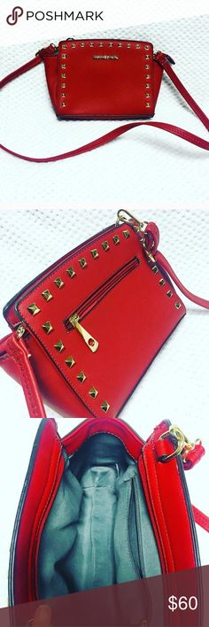 MK Small Selma Satchel Gorgeous fiery red leather and  glamorous gold studs in an adorable Selma ‼️INSPIRED‼️ small Satchel. Looks very authentic. Great, like new condition. Flawless exterior and interior 👌🏼 Same or next day shipping! Bags Satchels
