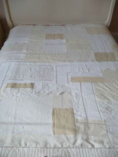Patchwork vintage linen quilt - old napkins or any other heirloom material can be used.