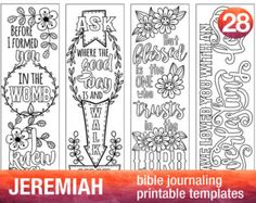 JEREMIAH - 4 Bible journaling printable templates, illustrated christian faith bookmarks, black and white bible verse prayer journal