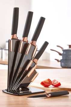 Image for Black & Copper Knife Block from studio Modern Knife Blocks, Copper Knife Set, Black And Copper Kitchen, Copper Utensils, Knife Block Set, Knife Sets, Kitchen Dining Living, Kitchen Equipment, Kitchen Trends