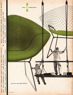 Vintage Knoll poster with Bertoia's Diamond chair