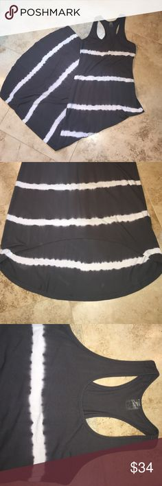 """Soybu Striped Hi-LO sundress Striped sundress by Soybu. Worn 1x. Just too long for my 5'5"""" frame. It skims the floor in back with flip flops. Works with wedges though! Grey with white stripes. Racerback. Soft and cottony. Soybu Dresses High Low"""