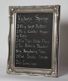 Ornate Silver Framed Blackboard Chalkboard by horsfall & wright, the perfect gift for Explore more unique gifts in our curated marketplace. Blackboard Paint, Magnetic Chalkboard, Liquid Chalk Markers, Victoria Sponge, Marker Pen, Blackboards, Kitchen Styling, Wooden Frames, Coffee Shop