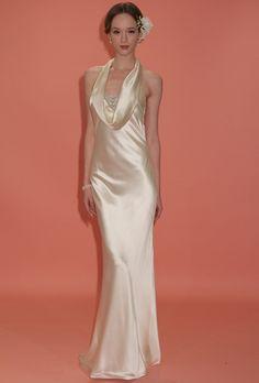 "Brides: Badgley Mischka - Spring 2013. ""Dolley"" sleeveless gold satin sheath wedding dress with a cowl neckline and beaded accent, Badgley Mischka"
