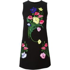 Christopher Kane floral embroidered shift dress (4.535 BRL) ❤ liked on Polyvore featuring dresses, christopher kane, black, short loose dresses, floral print dress, embroidered dress, colorful dresses and sleeveless dress