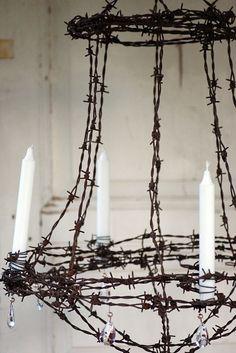 Barbed wire candelabra chandelier