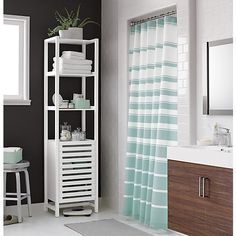 Hampton Stripe Seafoam Shower Curtain in Shower Curtains & Rings   Crate and Barrel