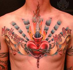 8976e09c92 No Heart No Art – Sacred Heart With Ribbon Tattoo On Man Chest Heart  Tattoos With