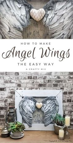 These beautiful angel wings will look heavenly hanging anywhere in your home and they're super easy to make too. Angel Wings Art, Angel Wings Wall Decor, Angel Decor, Angel Art, Diy Angels, Dyi, Diy Wings, Wing Wall, Angel Crafts
