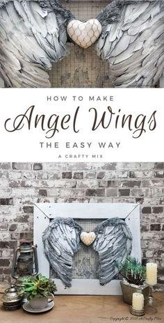 Angel Wings Art, Angel Wings Wall Decor, Angel Decor, Angel Art, Decor Crafts, Diy Home Decor, Diy Angels, Diy Wings, Wing Wall