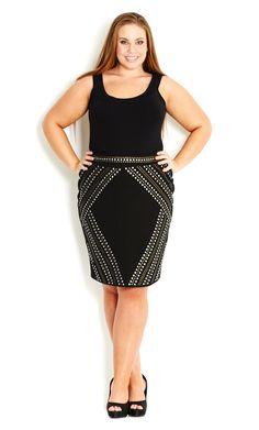 City Chic - SEXY STUD SKIRT - Women's plus size fashion
