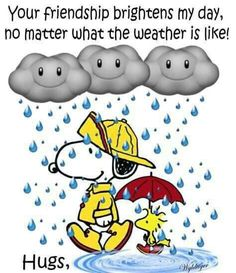 'Your friendship BRIGHTENS my day no matter what the weather is like', Snoopy and Woodstock, friends forever ; Peanuts Cartoon, Peanuts Snoopy, Snoopy Hug, Snoopy Beagle, Snoopy Comics, Peanuts Comics, Charlie Brown Et Snoopy, Charlie Brown Quotes, Snoopy Pictures