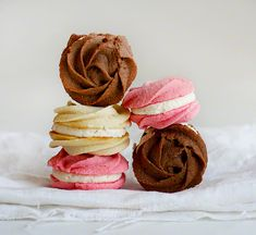 Neapolitan Rose Spritz Cookies! Piping the cookie dough with a star tip creates these beautiful rosettes.