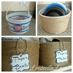 Jute Twine Icecream Tubs to make Pantry Baskets
