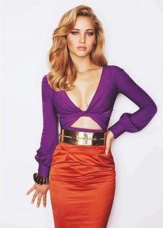 Jennifer Lawrence Orange Bra | Jennifer Lawrence - Orange Gucci Dress ~ETS #contrasts
