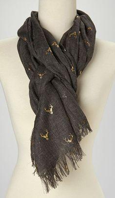 Black & Gold Antlers Scarf