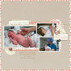 Love At First Sight - Two Peas in a Bucket #scrapbook #baby #infant #first #day #layout #hospital #nurse