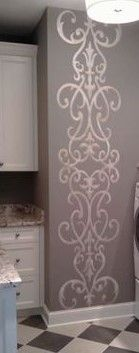 metallic stencil pattern - perfect design for the wall by the shower in Master bath! Love Love Love!!!