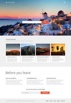 Travelly – Free Travel Website PSD Template #free #psd #template