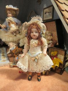 M C - porcelain child, style is an antique doll; sold on ebay for $67.66