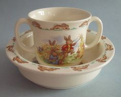 1930's Royal Doulton Bunnykins Mug and Bowl - We still have a mug and a bowl left, along with a few other Bunnykins pieces, but most of them disappeared over the years. Adorable set!