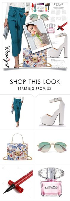 """Blue Green Pants *18"" by zenabezimena ❤ liked on Polyvore featuring Gucci, Versace, Summer, fashionset and rosegal"