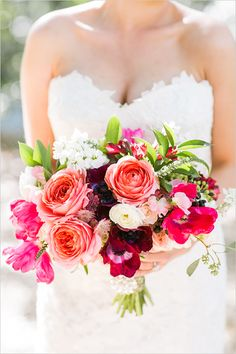 pink coral and fushcia wedding bouquet by Love Life Bloom