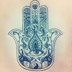 My original Hamsa drawing for a tattoo.