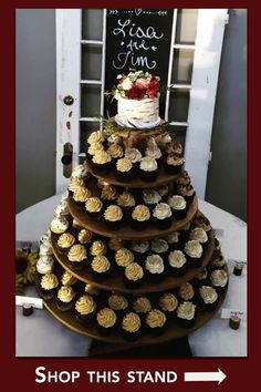 Rustic Cupcake Stand 5 Tier (Tower Holder) 120 Cupcakes 250 Donuts for Wedding, Birthday, Shower, An Rustic Cupcake Display, Wood Cupcake Stand, Rustic Cupcake Stands, Rustic Cupcakes, Cupcake Wedding Display, Simple Cupcakes, Cupcake Tower Wedding, Wood Display, Small Wedding Cakes