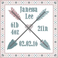 9.5x9.5, just the pattern, $13, Baby Birth Record Cross Stitch Pattern with arrows and tribal border