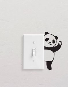 Panda Wall Decals, Panda Light Switch Decal, Simple Panda Vinyl Wall Decal, Panda Stickers, Light Switch Sticker Add style to simple switch plates with our Panda Wall Decal Set! This set includes five Simple Wall Paintings, Creative Wall Painting, Wall Painting Decor, Creative Art, Unique Wall Art, Diy Wall Art, Diy Wall Decor, Wall Art Designs, Paint Designs