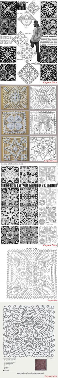 . The square motifs - all in openwork ... (crochet) - Country Mom