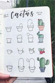 If you're looking to decorate your bullet journal then you need to check out these adorable cactus and succulent doodle tutorials for inspiration! Bullet Journal School, Bullet Journal Notes, Bullet Journal Aesthetic, Bullet Journal Writing, Bullet Journal Ideas Pages, Bullet Journal Inspiration, Book Journal, Doodle Inspiration, Easy Doodles Drawings