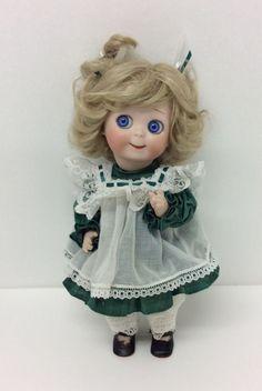 "Karen Geisler Porcelain Doll 1995 Big Blue Eyes Blonde 10"""
