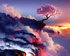 Cherry Tree Volcano Wallpaper in 1280x1024